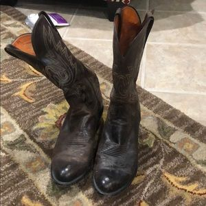 Lucchese 1883 DarkBrown goat R-Toe Western boots